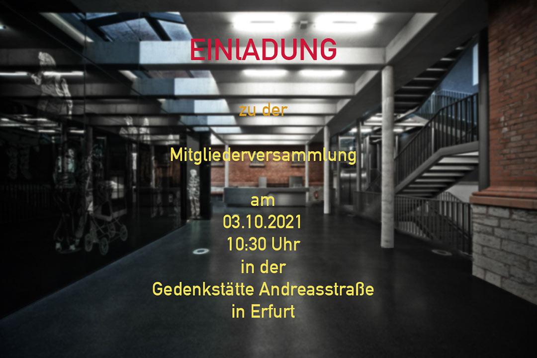 Einladung zum Mitgliederversammlung - Einladung-Mitgliederversammlung Förderverein Gedenkstätte Andreasstraße