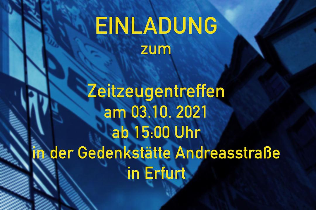 Einladung zum Zeitzeugentreffen - Einladung-Zeitzeugentreffen Förderverein Gedenkstätte Andreasstraße