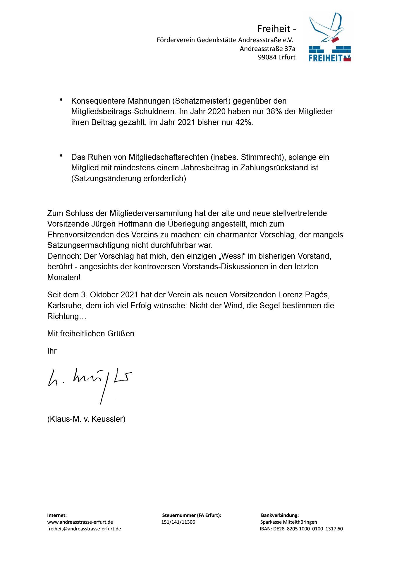 Abschiedsbrief vom ehemaligen Vorsitzenden Klaus von Keussler - Abschiedsbrief vom ehemaligen Vorsitzenden Klaus von Keussler